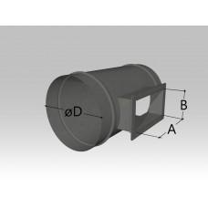 Тройник круглого сечения с прямоугольной врезкой
