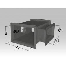 Крестовина прямоугольного сечения с прямоугольной и круглой врезкой