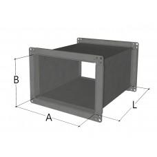Воздуховод прямоугольного сечения (один свободный фланец)