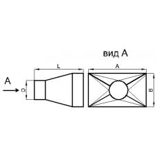 Переход прямоугольное сечение на круглое сечение (центральный, тип 1)
