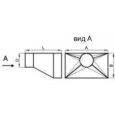 Переход прямоугольное сечение на круглое сечение (односторонний, тип 4)