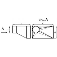 Переход прямоугольное сечение на круглое сечение (угловой левый, тип 3)