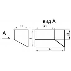 Переход прямоугольное сечение на прямоугольное сечение (угловой левый, тип 3)
